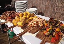 Grilled Corn, Shrimp and other items